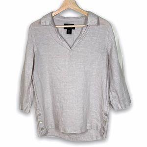 Tahari Gray Linen v-neck blouse - size S